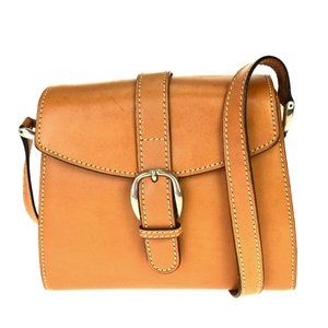 GUCCI Cross Body Shoulder Bag Leather Brown Silver